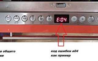 Посудомоечная машина выдает ошибку
