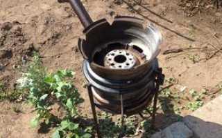 Печка под казан из автомобильных дисков